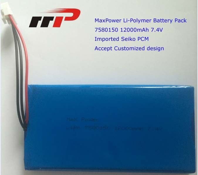 7.4V 12000mAh 7580150 Ultra Thin Lithium Polymer Battery High Capacity