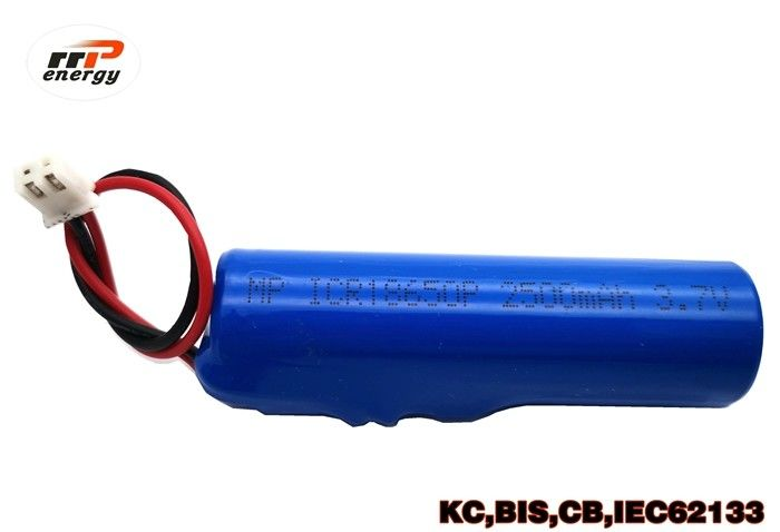 Blue Rechargeable Li Ion Battery Pack INR18650 3.7V 2500mAh 1000 Times Cycle Life