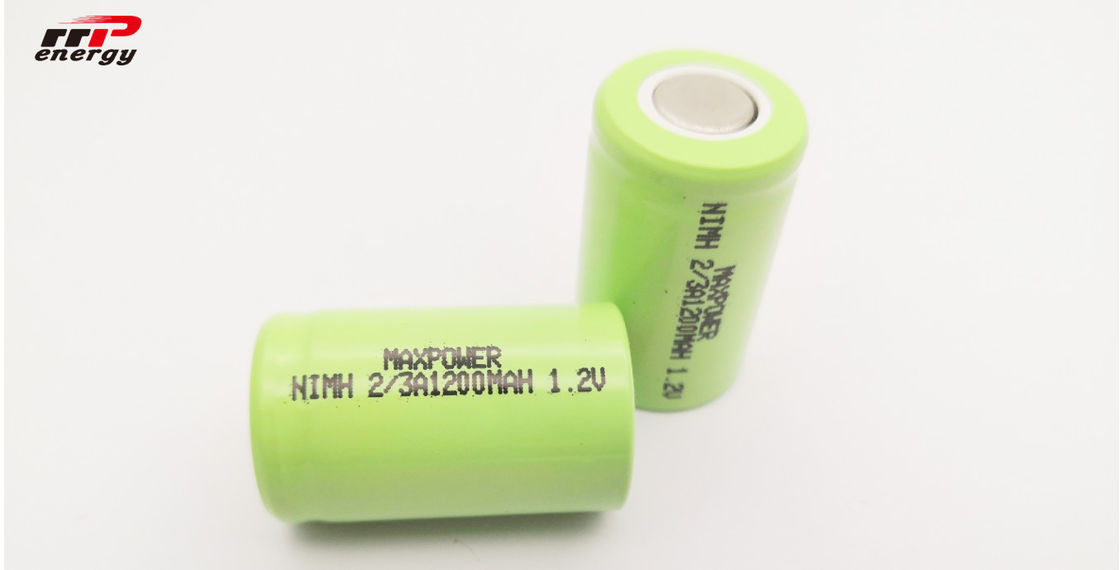 Flat Top Cylindrical Nimh Aa Rechargeable Batteries 1.2V 2/3A1200mAh High Rate CB