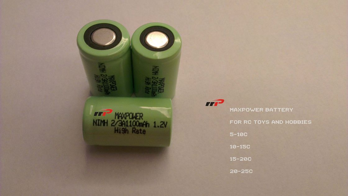 R/C Toy NIMH Rechargeable Batteries 2/3A 1100mAh 1.2V 1000 Cycles CE UL